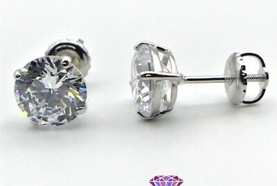 4 Ct Round Cut Lab Pink Diamond Earrings Solid 14k White Gold Screw Back Studs