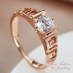 18K-Rose-Gold-Plated-Simulated-Diamond-0-75-ct-Hollow-out-Vintage-Wedding-Ring
