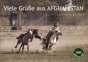 AFGHANISTAN-Postkarte-Feldpost-ISAF-ungelaufen-Postcard-Boskaschi-Reiter-Spiel