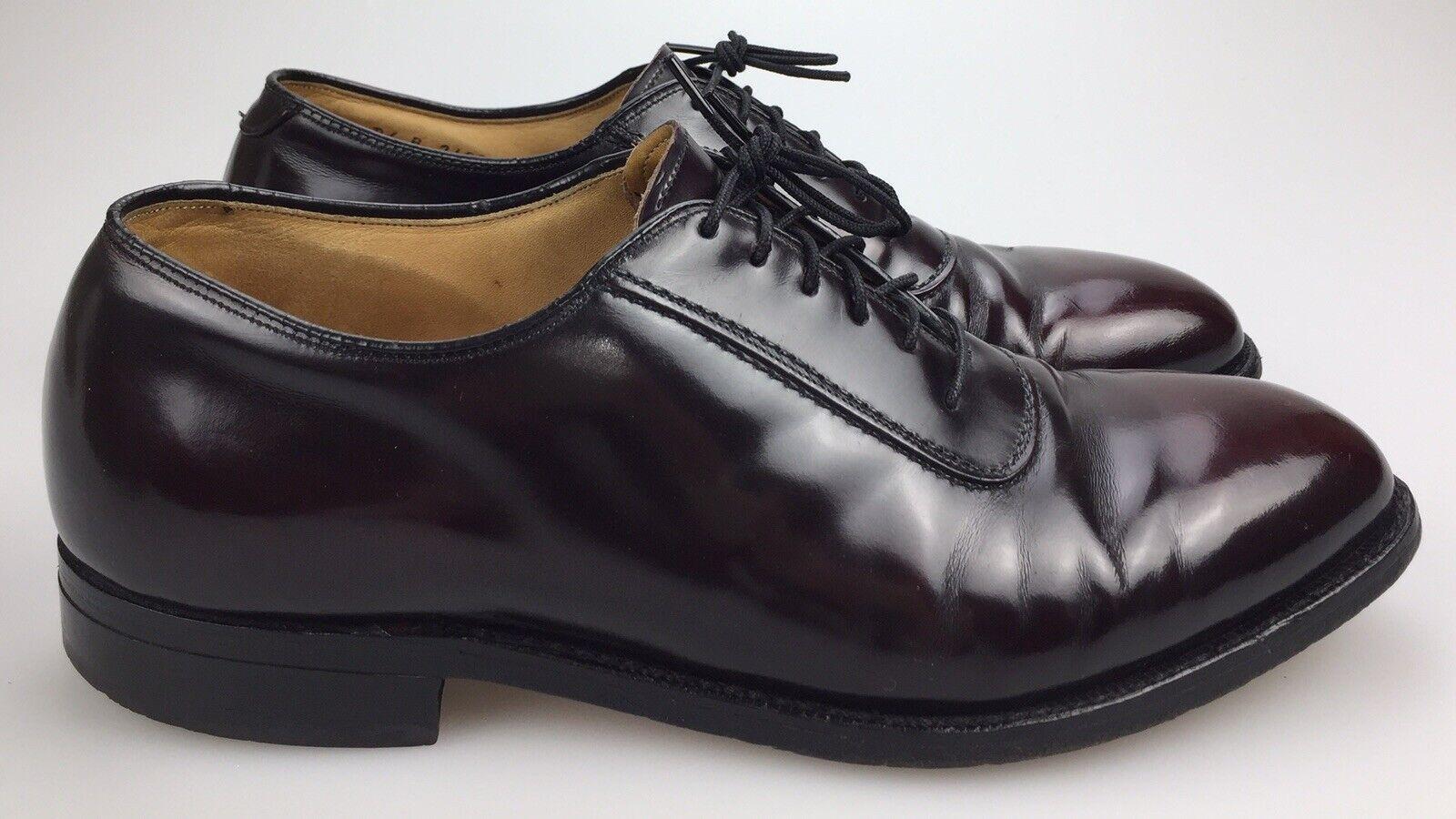 Johnston Murphy Heritage Men's 7.5 Black Cherry Burgundy Leather Lace Up Oxfords