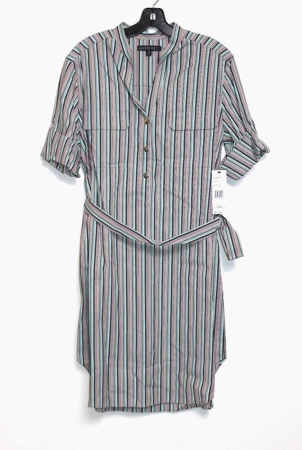 Lafayette 148 New York Women's 12 - NWOT 398 - Striped Cotton Belted Shirt Dress