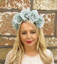 Large Turquoise Rose Sugar Skull Flower Headband Halloween Frida Khalo Big 3691