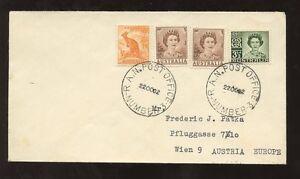 AUSTRALIA-1962-3-COLOUR-FRANKING-to-AUSTRIA-RA-NAVAL-POST-OFFICE-NUMBER-3-PMKS