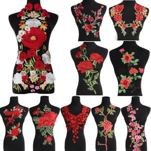 Rose-Flower-Applique-Badge-Embroidered-Sew-on-Floral-Collar-Patch-Dress-Craft