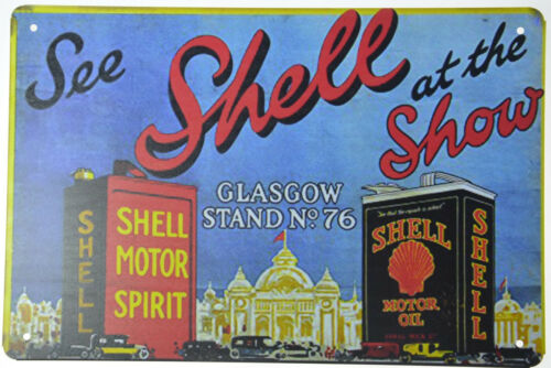 "See Shell at the Motor Show Oil Fuel Gas Garage Retro Metal Tin Sign 12x8/"" NEW"