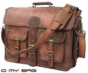 Laptop-Bag-Men-039-s-Genuine-Vintage-Brown-Leather-Messenger-Shoulder-Briefcase