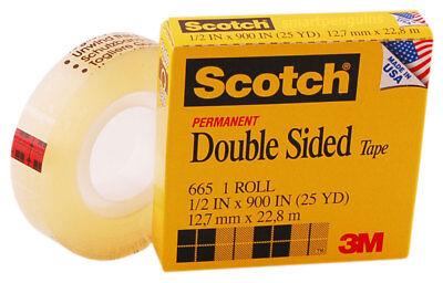 "1/"" Core 1//2/"" x 900/"" Scotch 665 Double-Sided Tape 2 Rolls MMM665129 Clear"