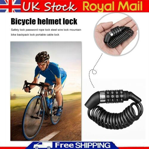 Bicycle Helmet Backpack Lock 4 Digit Combination Steel Wire Anti Theft Cable UK