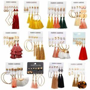 5-6Pairs-Women-Boho-Tassel-Crystal-Pearl-Earrings-Set-Stud-Hook-Dangle-Gift-Hot