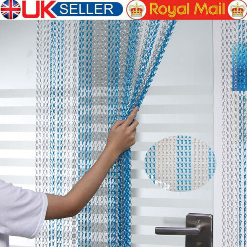 Metal Aluminium Chain Link Fly Pest Control Insect Door Curtain Blue /& Silve UK