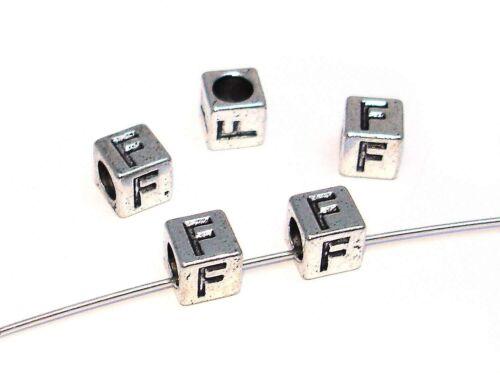 Metallperlen Buchstabe F 7x7mm 2 Stück #U167