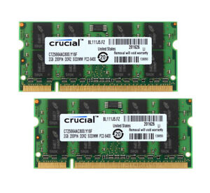 4GB-2x-2GB-Crucial-2Rx8-PC2-6400-DDR2-800Mhz-200Pin-SODIMM-Laptop-Memory-RAM-6H