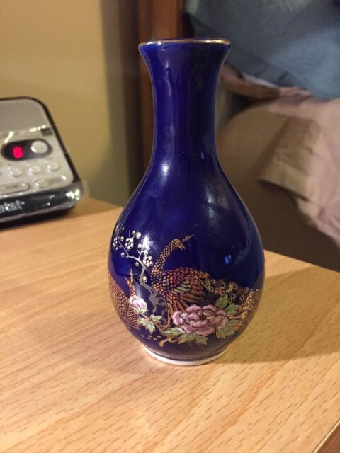 Vintage Cobalt Blue Vase With Two Peacocks 4 12 High Ebay