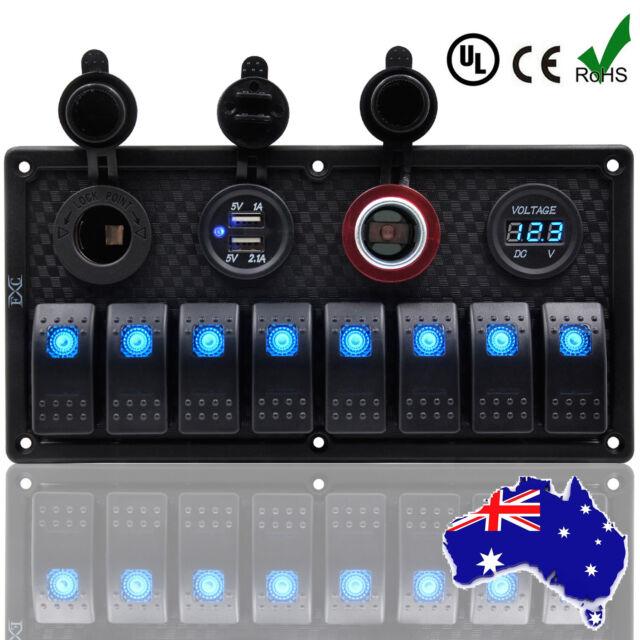 8 Gang Waterproof Marine Switch Panel, Rocker Switch ARB - Boat/Caravan/4x4