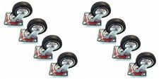 "8 Pack Swivel Caster Wheels 3"" Rubber Base with Top Plate & Bearing Heavy Duty"