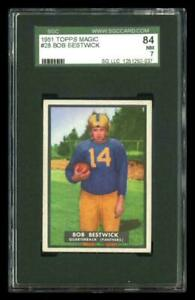 Rare 1951 Topps Magic #28 Bob Bestwick Football Card SGC 84 / 7 NM