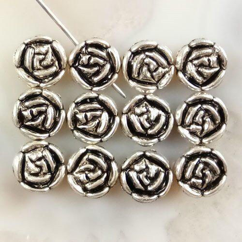 40Pcs Carved Tibet Argent Rose Pendentif Perles 10x3mm JC415