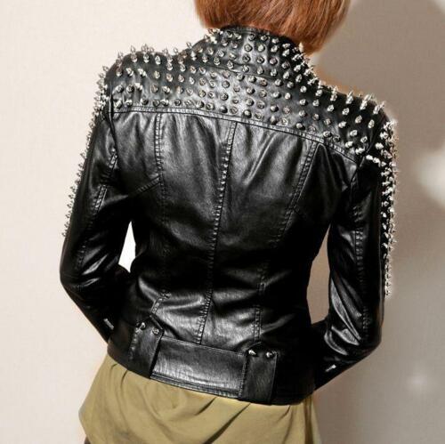 Womens Punk Spike Studded Rivet Shoulder PU Leather Jacket Motorcycle Biker Coat