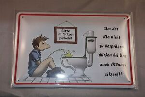 Spruch Bitte im sitzen pinkeln quer Toilette WC Männer Blechschild 20x30 cm