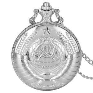 Retro-Black-Silver-Soviet-Sickle-Hammer-Style-Men-Women-Quartz-Pocket-Watch