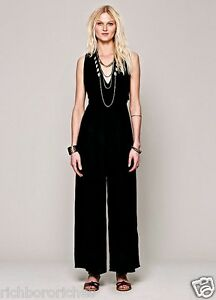 8dbba69bae1 NEW Free People black Follow Me To Vienna One Piece Jumpsuit Wide ...