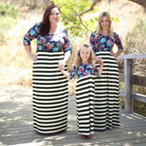 Mother Daughter Matching Family Dress Women Girl Floral Maxi Long Casual Dresses