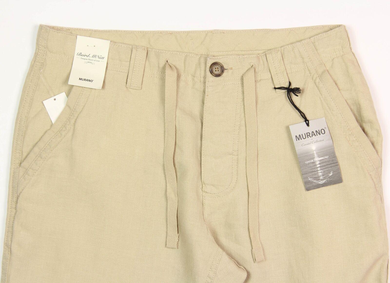 Men's MURANO Khaki Wheat Beige LINEN Drawstring Pants 38x30 NEW NWT COOL   -730