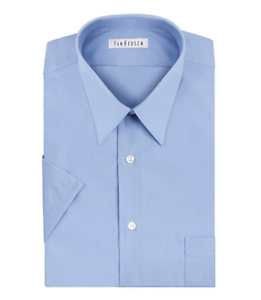 Van-Heusen-Men-039-s-Short-Sleeve-Poplin-Dress-Shirt-Cameo-Blue-MSRP-42-50