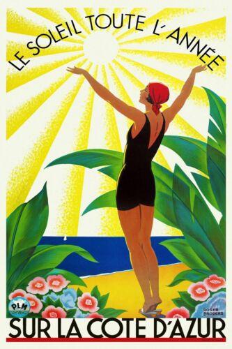 Vintage Art Déco Reise Poster Côte D Azur 1920s Französisch Riviera Sun Beach