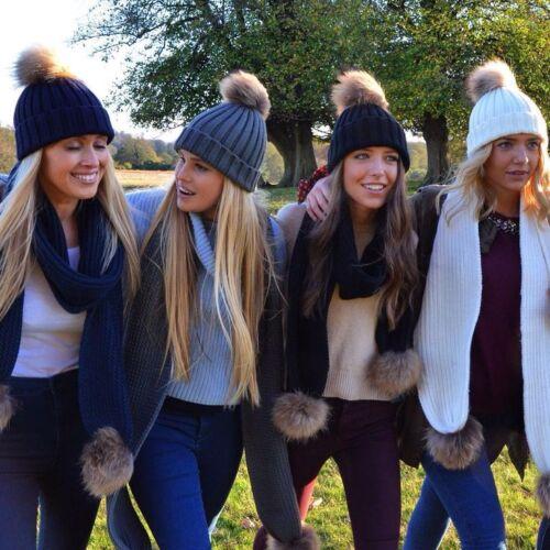 LADIES WINTER KNITTED BEANIE SKI HAT DETACHABLE FAUX FUR BOBBLE POM POM WOMENS
