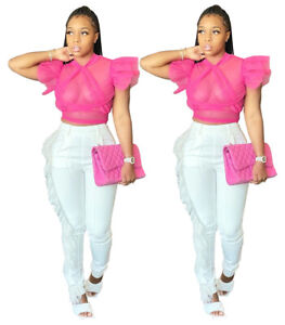 US Fashion Women Mesh Perspective Ruffled Short Sleeves Bodycon Club Party Tops