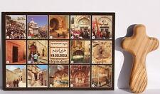 Olive Wood Prayer Cross + Postcard Jesus Christ Way of Agony Jerusalem Holy Land