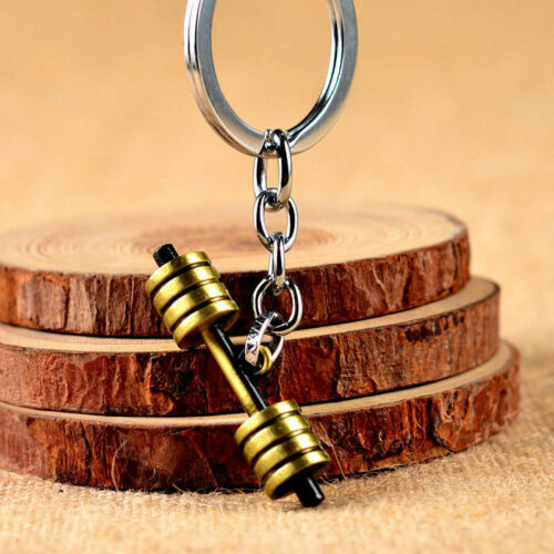 DUMBBELL BARBELL WEIGHT Charm Chain Keychain *Fitness Weightlifting Gym CROSSFIT