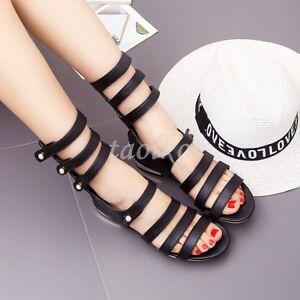 Sweet-Low-Heels-Bandage-Roman-Summer-Sandals-Open-Toe-Rivet-Zip-Womens-Shoes-Sz