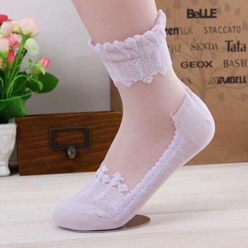 Summer Ultrathin Women Lace Ruffle Ankle Faux Silk Cotton Elastic Mesh Socks SK