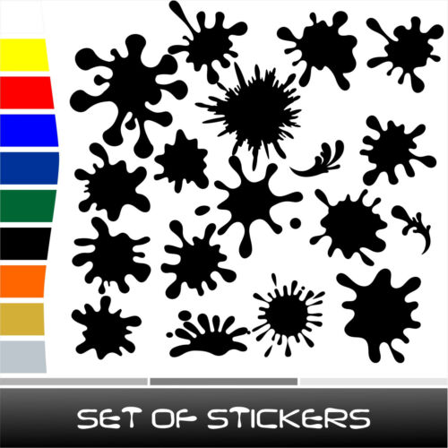 28 units SET of SPLASH stickers decals ST081 for cars mirrors walls