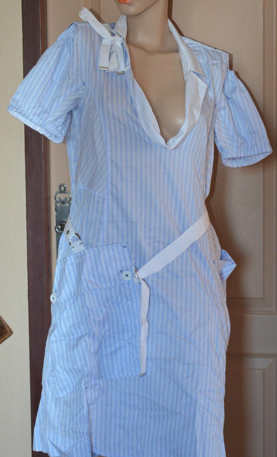 Bel vestito vestito vestito azzurro cielo a strisce bianco HIGH USE taglia 34 NUOVA ETICHETTA c9b0cf