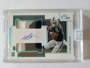 2020 Panini One Henry Ruggs III Rookie Patch Auto Blue RPA /75 RC Raiders 3 clr