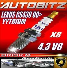 FITS LEXUS GS430 V8 2000> BRISK SPARK PLUGS X8 YYTRIUM FAST DISPATCH