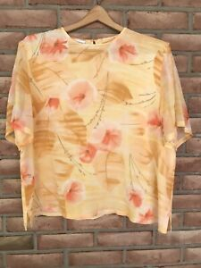 PENDLETON-Women-039-s-100-Silk-Short-Sleeve-Blouse-Floral-Size-18