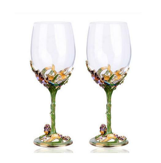 E43 Red Wine Crystal Wine Glass Wth Diamond Filling Stem Home Decoratio Wine Set