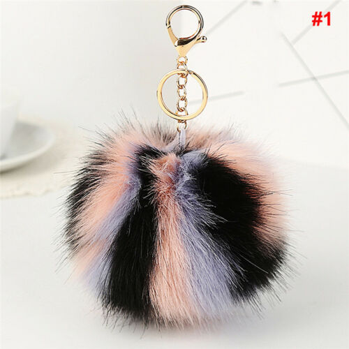 Rabbit Fluffy Pompom Ball Handbag Car Pendant Charm Key Chain Keyrings new.