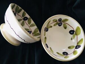 Williams-Sonoma-Set-of-2-Olives-Design-Appetizer-Dipping-Rice-Condiment