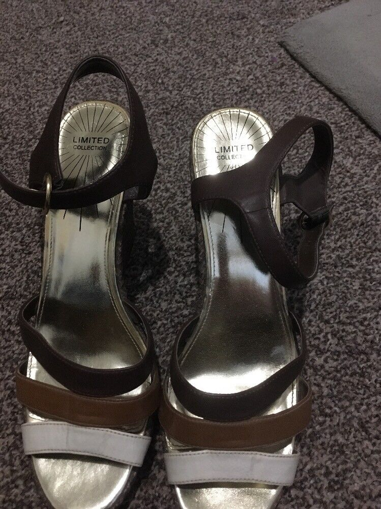 Marks Brown And Spencer's Limited Collection Brown Marks Scrappy Wedges Size Summer 16cc51