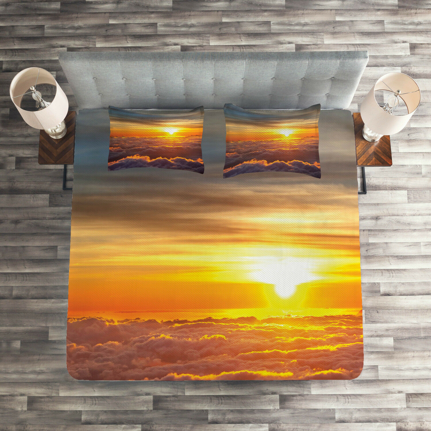 Nature Quilted Coverlet & Pillow Shams Set, Sunset Scene on Clouds Print