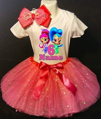 -With NAME- Shimmer And Shine 3rd Birthday Dress shirt 2pc fuchsia Tutu outfit