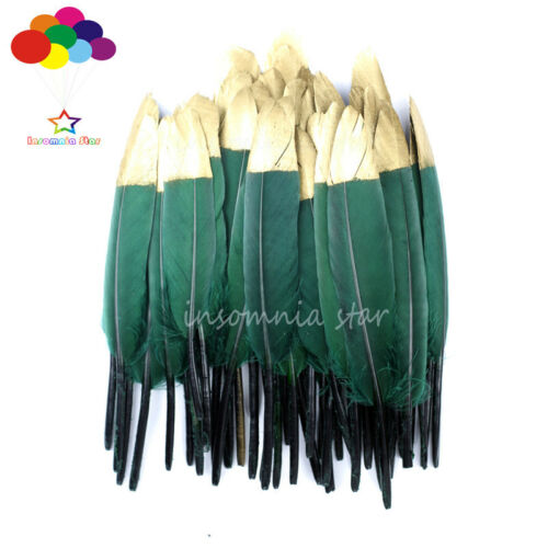 10-100Pcs Duck Feather White Dyed Gold Head 6-8Inch//15-20cm Diy Carnival Costume