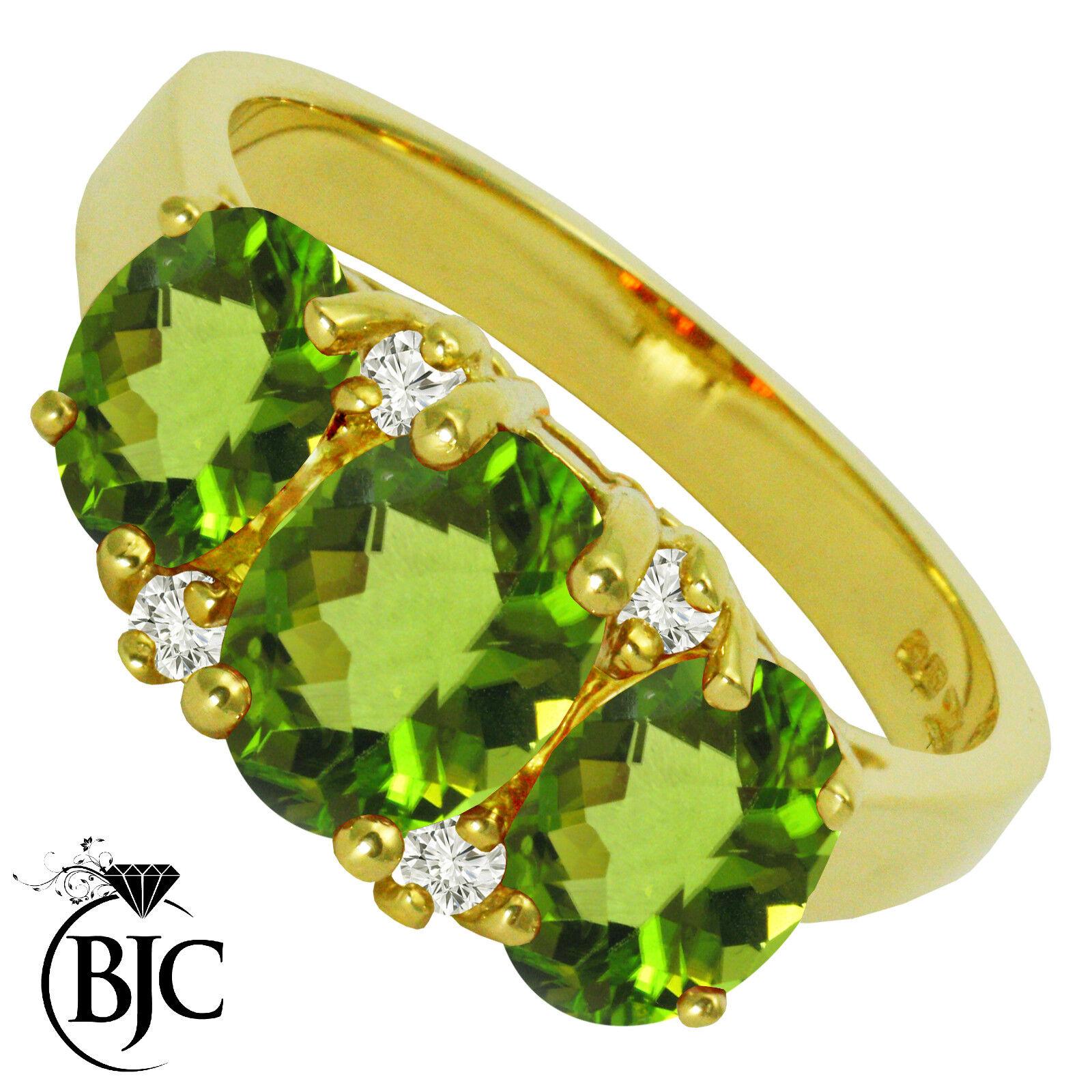 BJC® 9ct Yellow gold Peridot & Diamond Trilogy size O engagement dress ring R143
