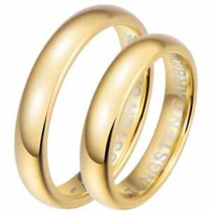 Son-et-Sien-4-mm-tungsten-Gold-correspondants-Wedding-Engagement-Ring-Set-UK-Vendeur