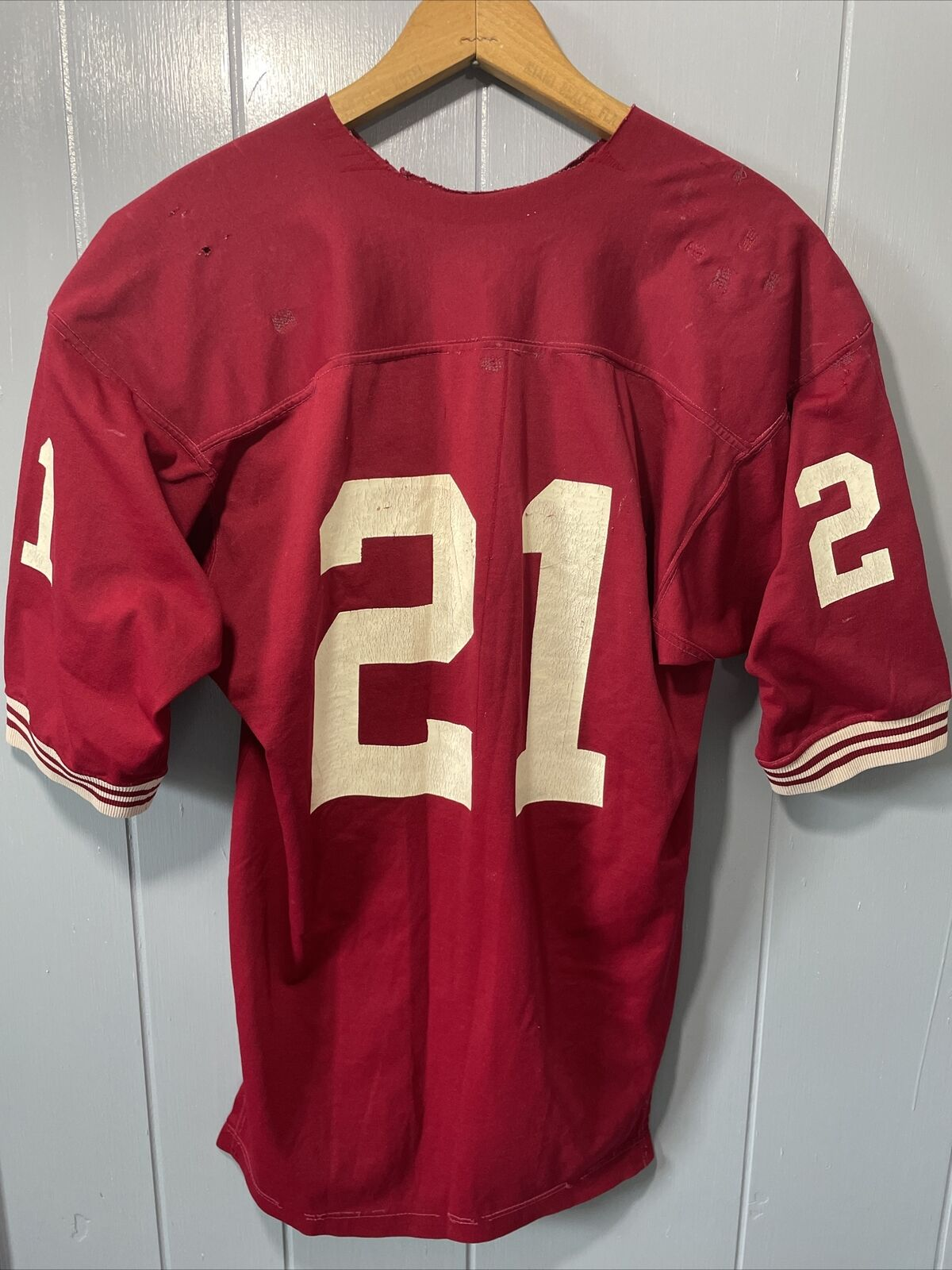 VTG 70's Russell Athletic Red Football Jersey #21… - image 8